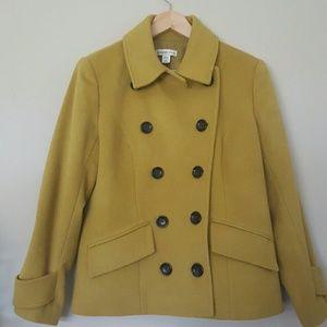 Coldwater Creek Yellow Pea Coat Petite Medium